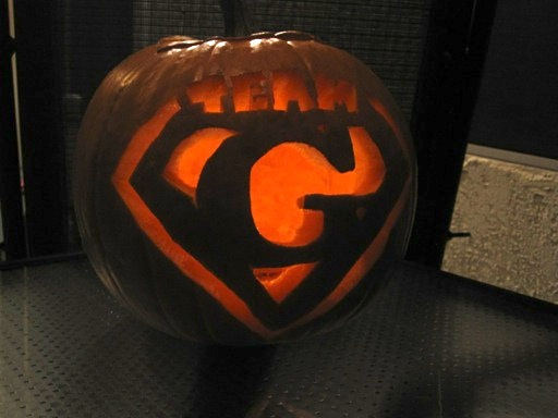 The Team G pumpkin, as carved by sister Lori and family